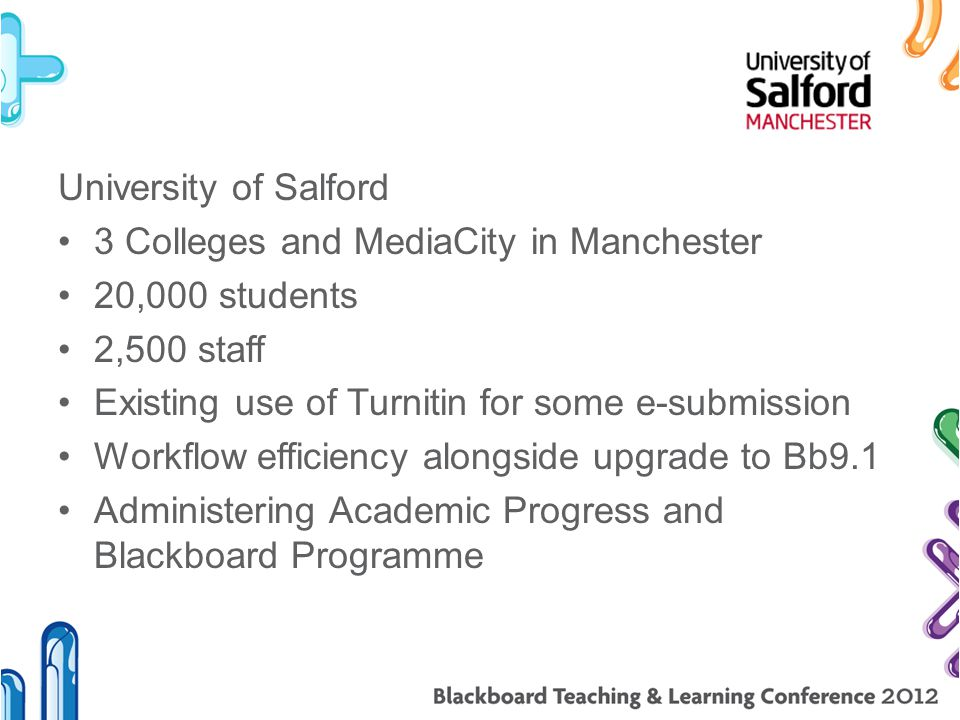 University of Salford 3 Colleges and MediaCity in Manchester 20,000 students 2,500 staff Existing use of Turnitin for some e-submission Workflow efficiency alongside upgrade to Bb9.1 Administering Academic Progress and Blackboard Programme