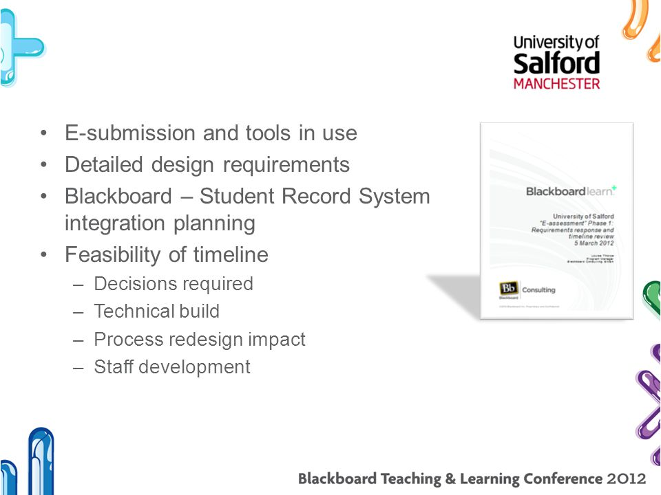E-submission and tools in use Detailed design requirements Blackboard – Student Record System integration planning Feasibility of timeline –Decisions