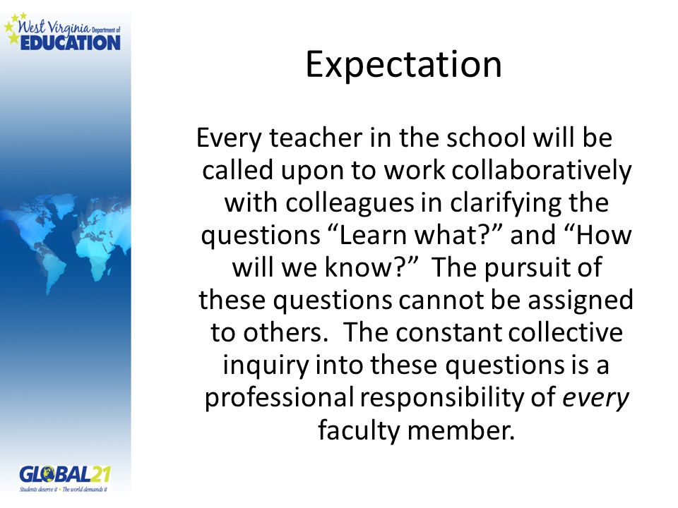 Expectation Every teacher in the school will be called upon to work collaboratively with colleagues in clarifying the questions Learn what? and How wi