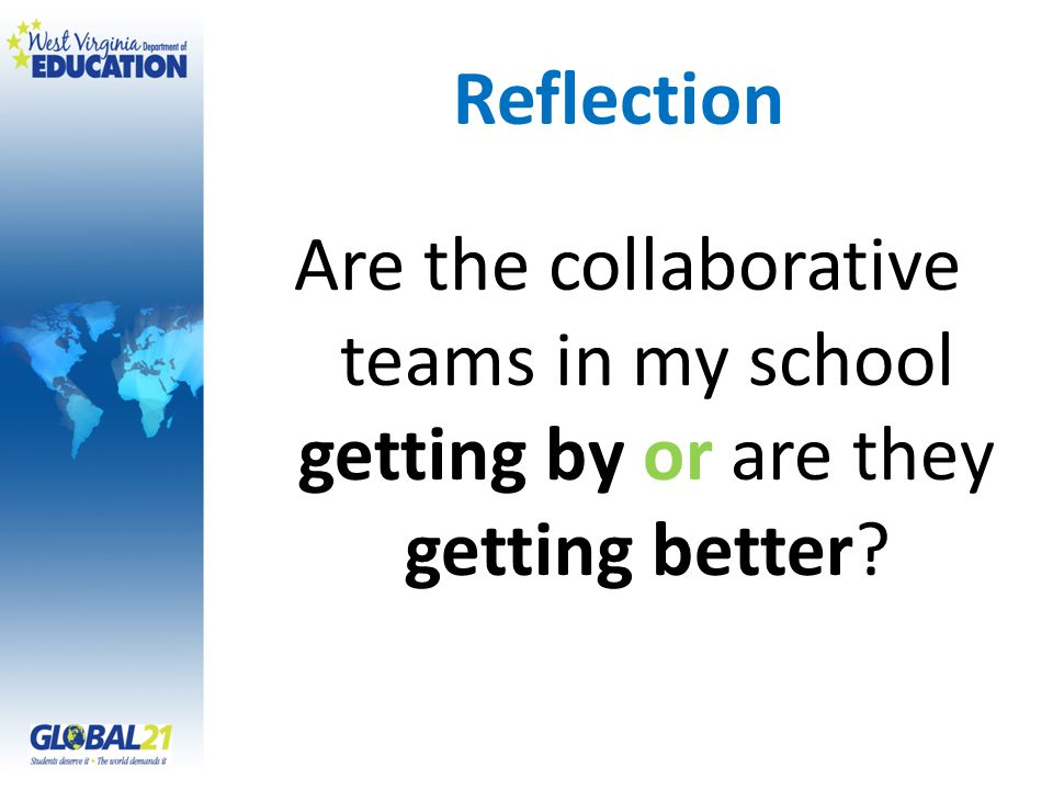 Reflection Are the collaborative teams in my school getting by or are they getting better?