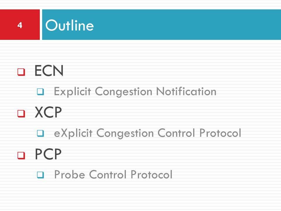 ECN Explicit Congestion Notification XCP eXplicit Congestion Control Protocol PCP Probe Control Protocol Outline 4