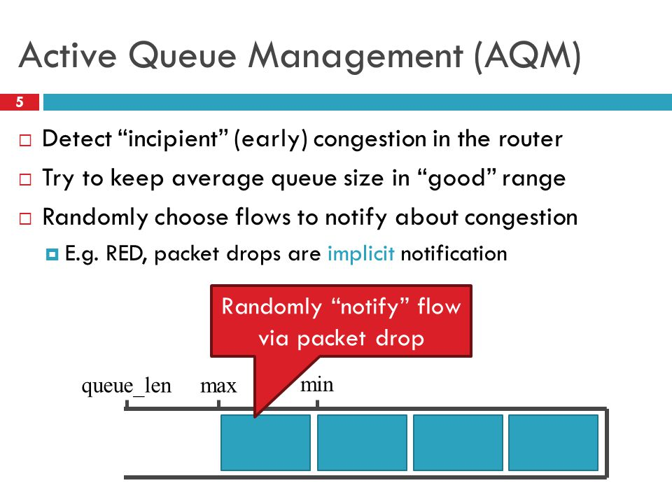 Active Queue Management (AQM) 5 Detect incipient (early) congestion in the router Try to keep average queue size in good range Randomly choose flows t