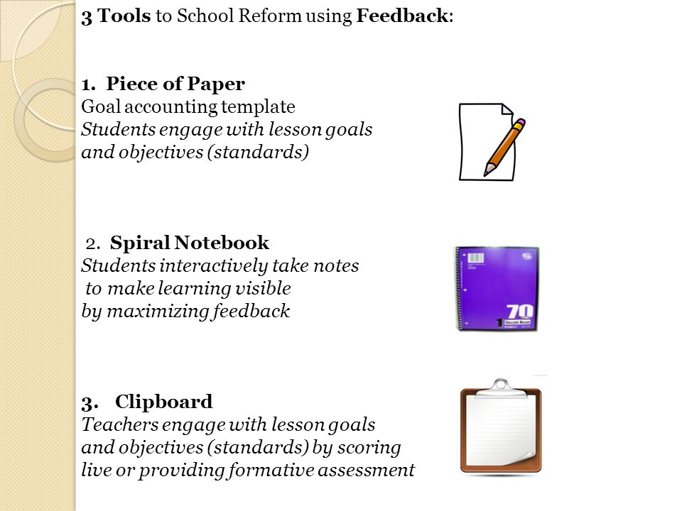 3 Tools to School Reform using Feedback: 1. Piece of Paper Goal accounting template Students engage with lesson goals and objectives (standards) 2. Sp