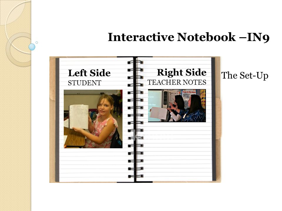 Left Side STUDENT Right Side TEACHER NOTES Interactive Notebook –IN9 The Set-Up