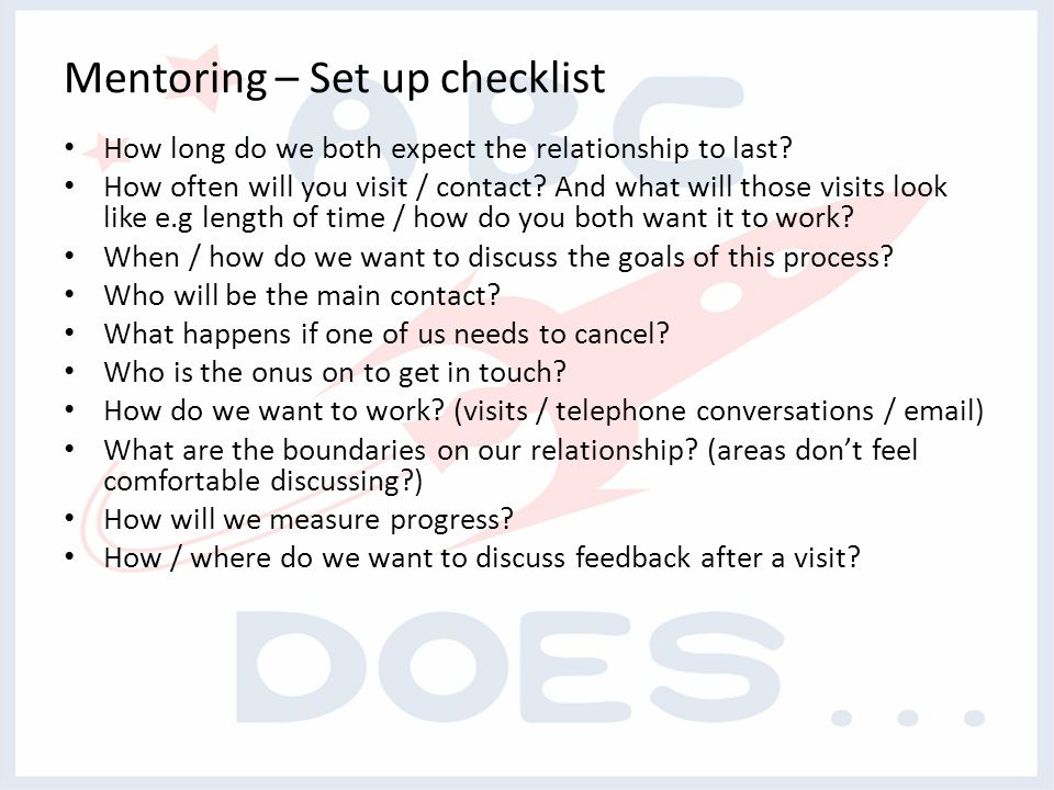 Mentoring – Set up checklist How long do we both expect the relationship to last.