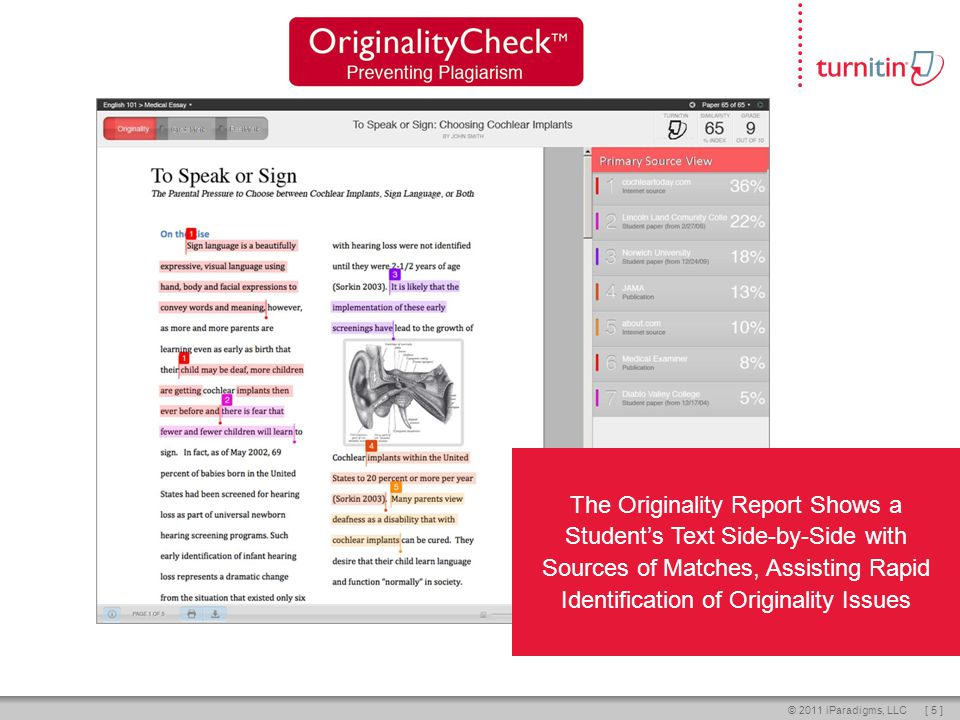 [ 5 ]© 2011 iParadigms, LLC The Originality Report Shows a Students Text Side-by-Side with Sources of Matches, Assisting Rapid Identification of Originality Issues