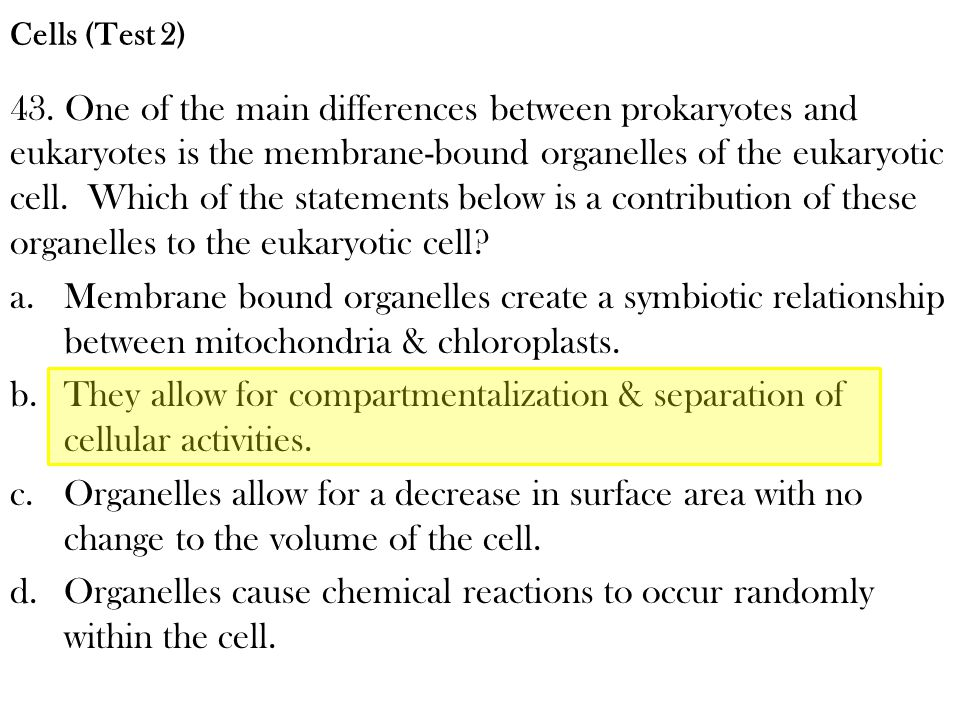 43. One of the main differences between prokaryotes and eukaryotes is the membrane-bound organelles of the eukaryotic cell. Which of the statements be