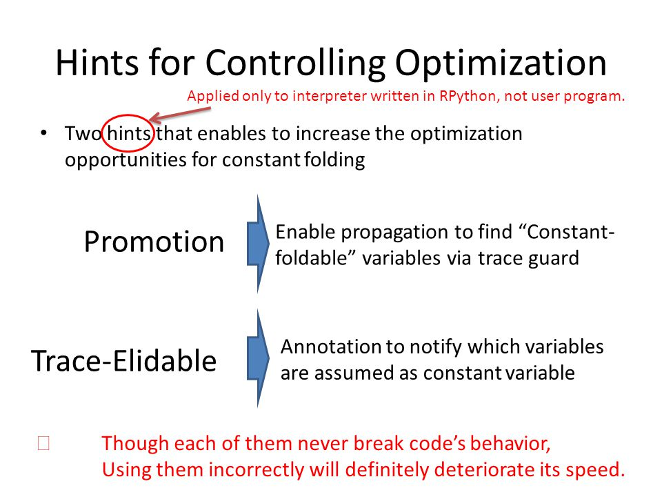 Hints for Controlling Optimization Two hints that enables to increase the optimization opportunities for constant folding Applied only to interpreter written in RPython, not user program.