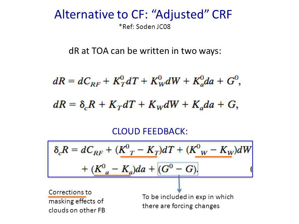 Alternative to CF: Adjusted CRF *Ref: Soden JC08 dR at TOA can be written in two ways: CLOUD FEEDBACK: To be included in exp in which there are forcin