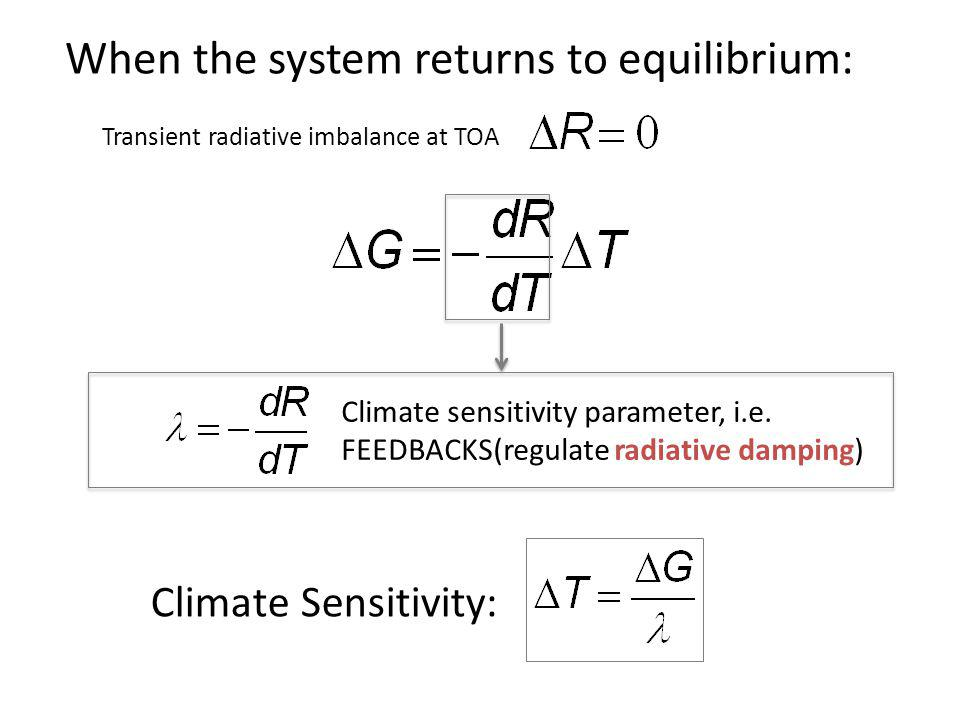When the system returns to equilibrium: Climate sensitivity parameter, i.e. FEEDBACKS(regulate radiative damping) Climate Sensitivity: Transient radia