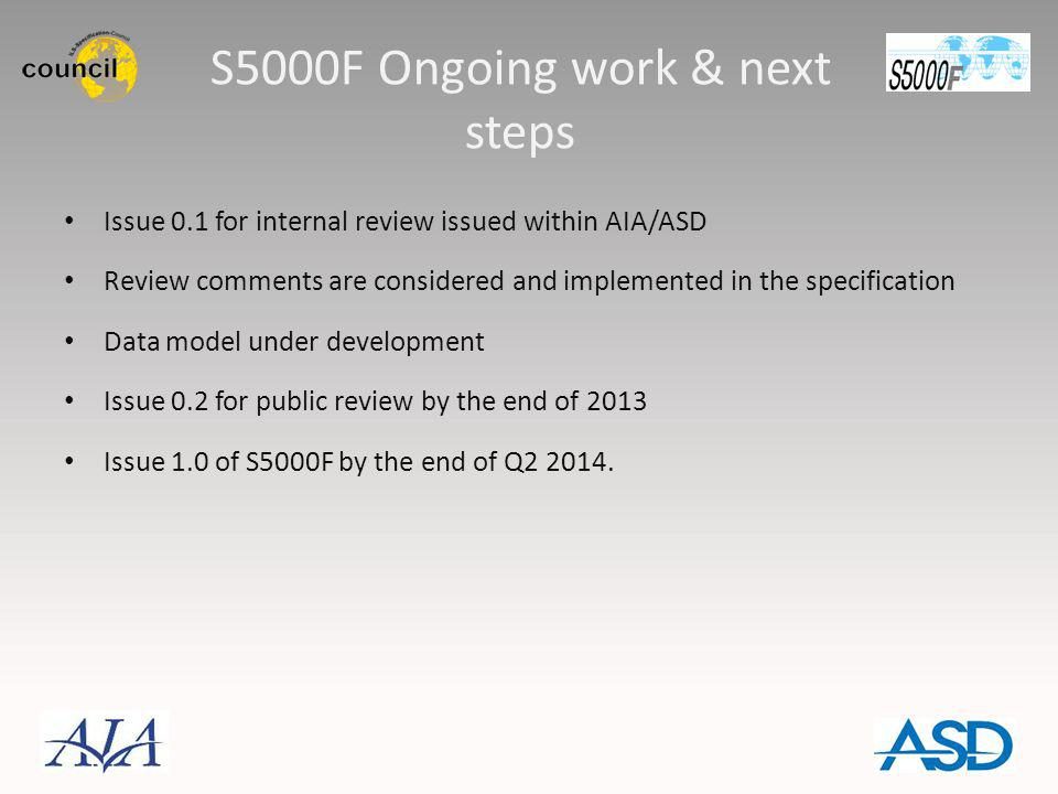 S5000F Ongoing work & next steps Issue 0.1 for internal review issued within AIA/ASD Review comments are considered and implemented in the specificati