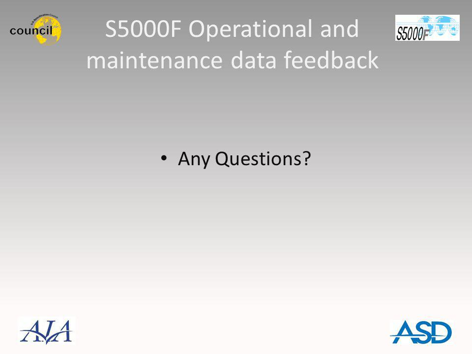 S5000F Operational and maintenance data feedback Any Questions?