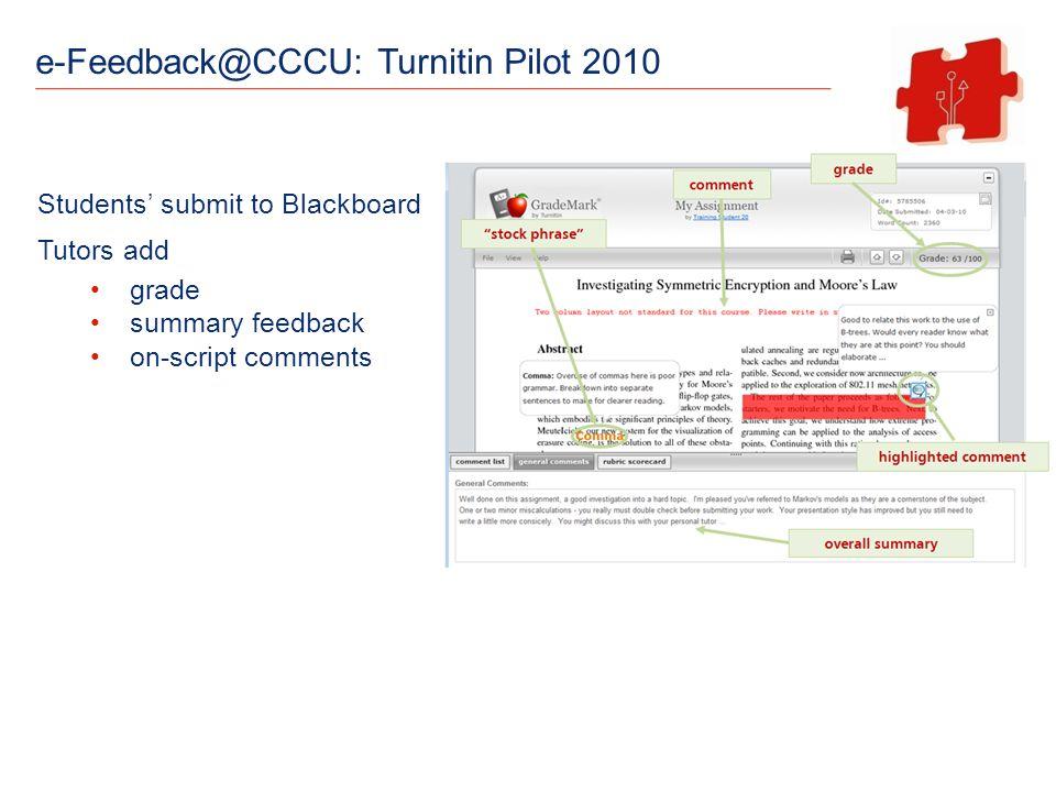 e-Feedback@CCCU: Turnitin Pilot 2010 Students submit to Blackboard Tutors add grade summary feedback on-script comments