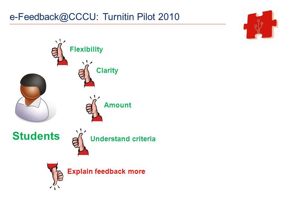e-Feedback@CCCU: Turnitin Pilot 2010 Students Flexibility Clarity Amount Understand criteria Explain feedback more