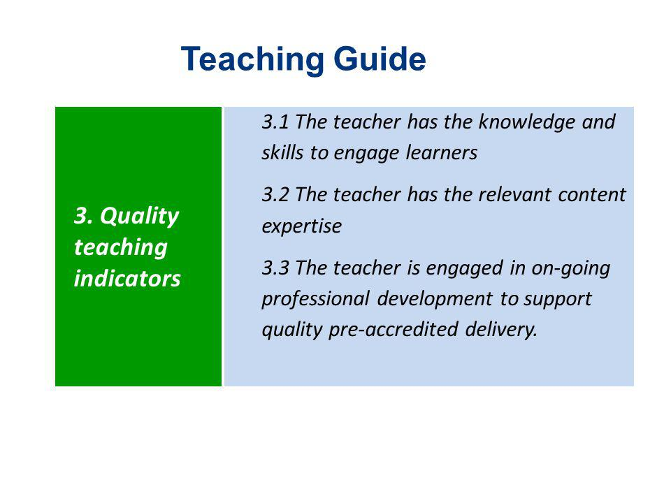 Teaching Guide 3. Quality teaching indicators 3.1 The teacher has the knowledge and skills to engage learners 3.2 The teacher has the relevant content