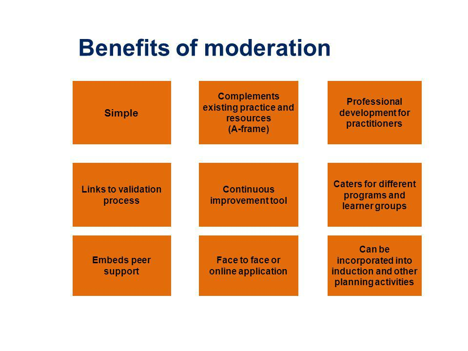 Benefits of moderation Simple Complements existing practice and resources (A-frame) Professional development for practitioners Links to validation process Continuous improvement tool Caters for different programs and learner groups Embeds peer support Face to face or online application Can be incorporated into induction and other planning activities