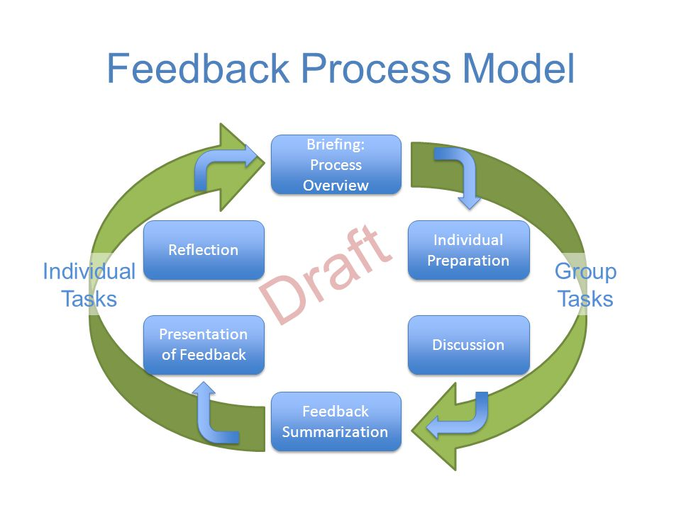 Feedback Process Model Briefing: Process Overview Discussion Feedback Summarization Feedback Summarization Presentation of Feedback Group Tasks Individual Tasks Individual Preparation Individual Preparation Reflection Draft