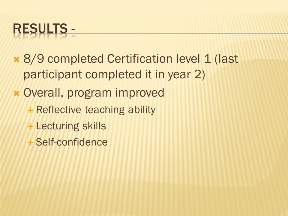 8/9 completed Certification level 1 (last participant completed it in year 2) Overall, program improved Reflective teaching ability Lecturing skills S