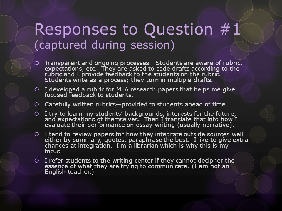 Responses to Question #1JJC English Faculty I provide a long and very precise description of each essays strengths and weaknesses at the end…I really am quite pleased with the practical and clear manner in which I describe each papers successes and opportunities for improvement (Jim Baskin).