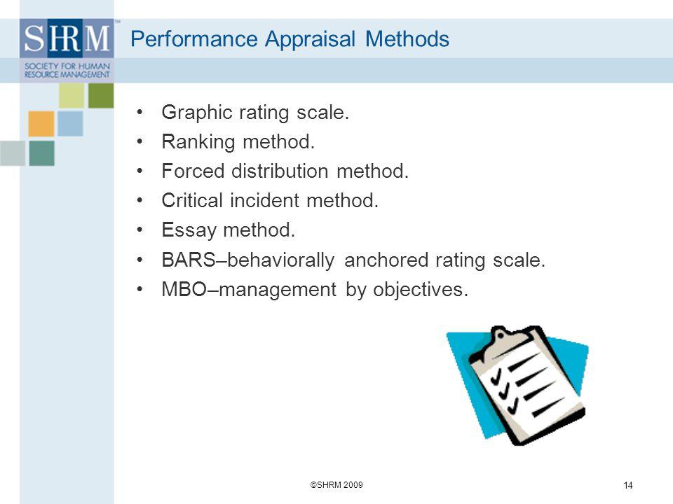 Performance Appraisal Methods Graphic rating scale. Ranking method. Forced distribution method. Critical incident method. Essay method. BARS–behaviora