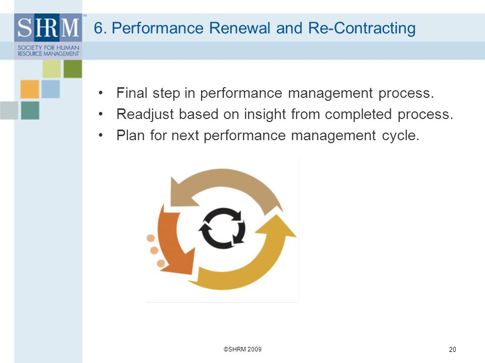 6. Performance Renewal and Re-Contracting Final step in performance management process. Readjust based on insight from completed process. Plan for nex