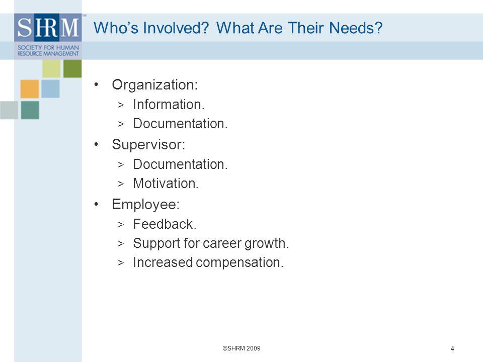 Whos Involved? What Are Their Needs? Organization: > Information. > Documentation. Supervisor: > Documentation. > Motivation. Employee: > Feedback. >