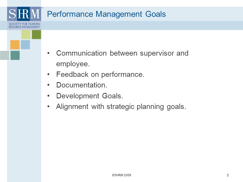 Performance Management Goals Communication between supervisor and employee. Feedback on performance. Documentation. Development Goals. Alignment with