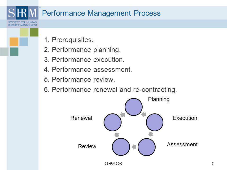 Performance Management Process 1. Prerequisites. 2. Performance planning. 3. Performance execution. 4. Performance assessment. 5. Performance review.