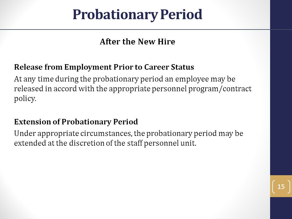 After the New Hire Release from Employment Prior to Career Status At any time during the probationary period an employee may be released in accord wit
