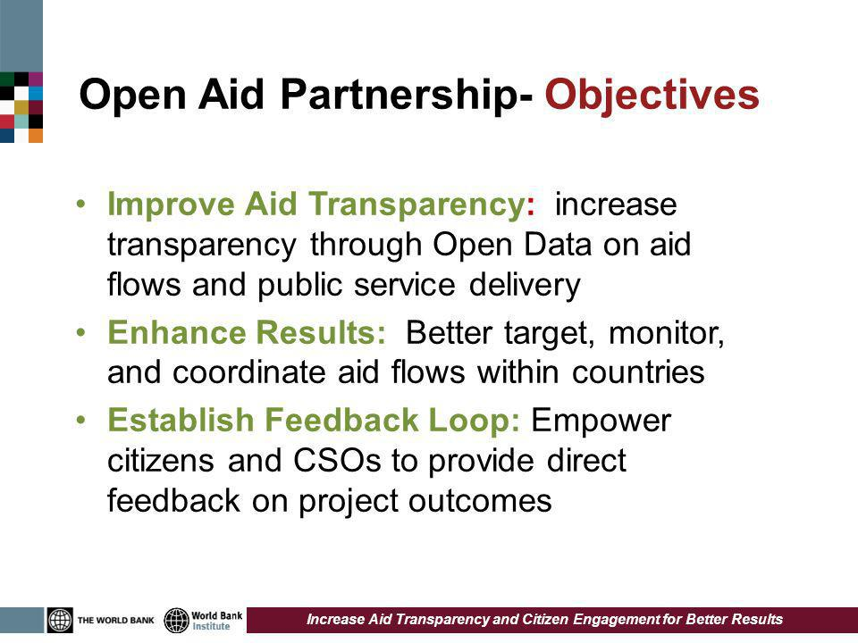 Open Aid Partnership- Objectives Improve Aid Transparency: increase transparency through Open Data on aid flows and public service delivery Enhance Results: Better target, monitor, and coordinate aid flows within countries Establish Feedback Loop: Empower citizens and CSOs to provide direct feedback on project outcomes Increase Aid Transparency and Citizen Engagement for Better Results