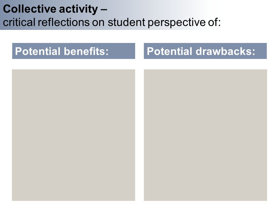 Collective activity – critical reflections on student perspective of: Potential benefits:Potential drawbacks: