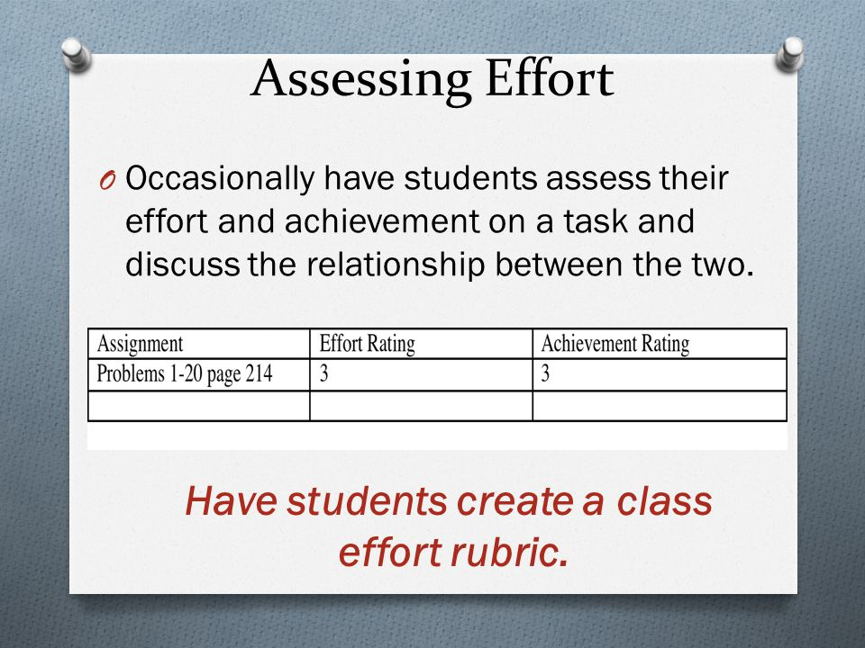 Assessing Effort O Occasionally have students assess their effort and achievement on a task and discuss the relationship between the two.