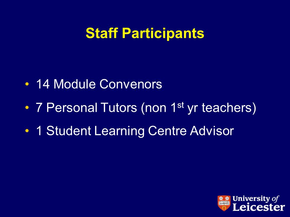 Staff Participants 14 Module Convenors 7 Personal Tutors (non 1 st yr teachers) 1 Student Learning Centre Advisor