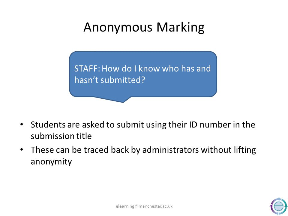 Anonymous Marking Students are asked to submit using their ID number in the submission title These can be traced back by administrators without liftin
