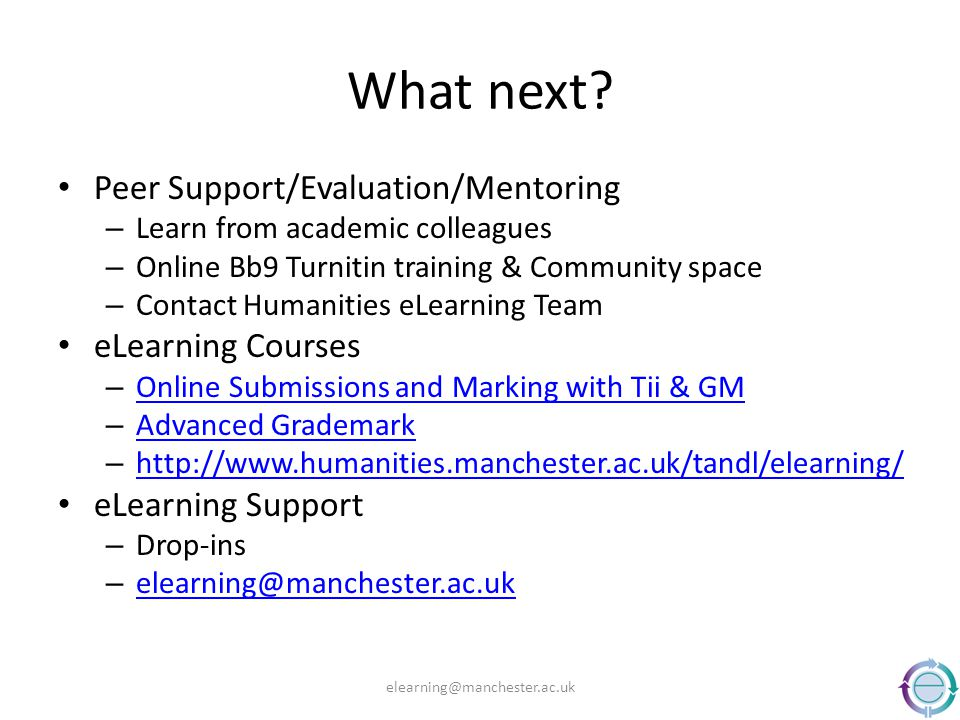 What next? Peer Support/Evaluation/Mentoring – Learn from academic colleagues – Online Bb9 Turnitin training & Community space – Contact Humanities eL