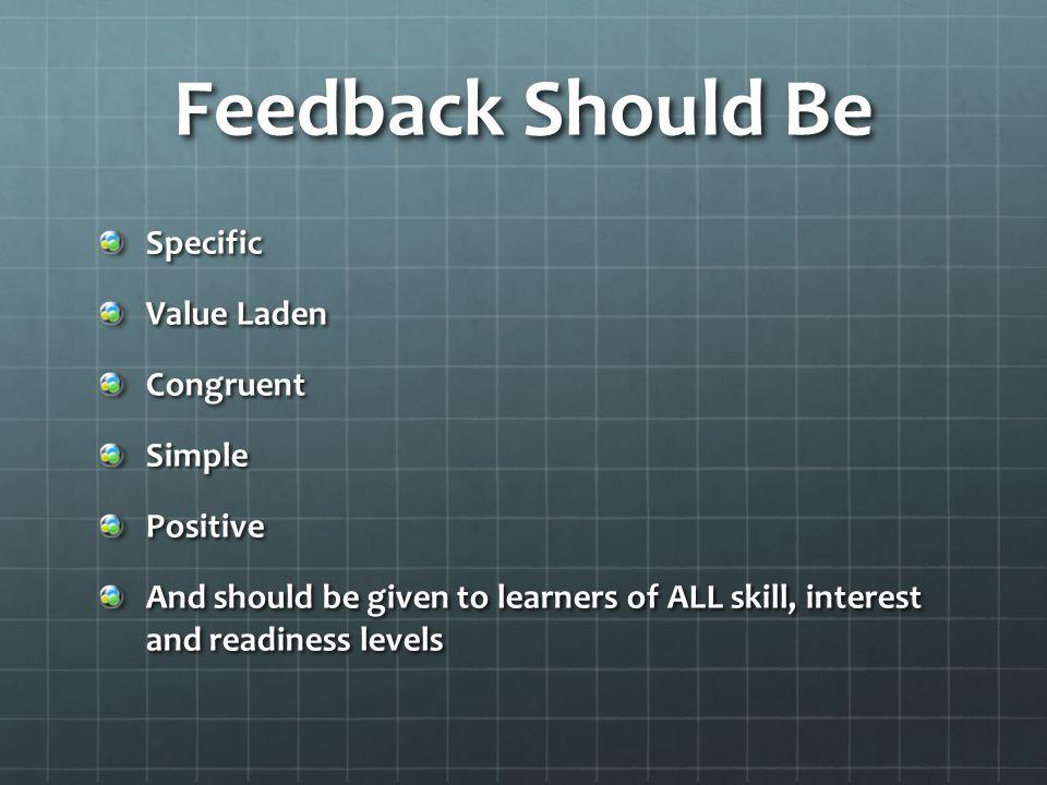 Providing Feedback Performer analysis Teacher analysis Media or technology Peer teaching- students evaluate eachother Yourself- internal feedback