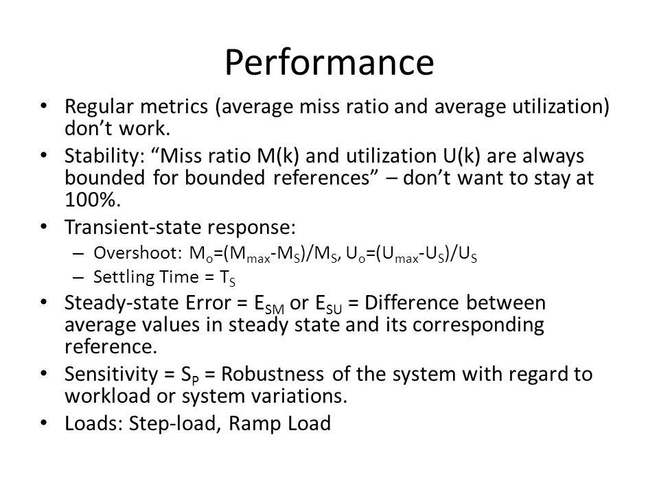 Performance Regular metrics (average miss ratio and average utilization) dont work. Stability: Miss ratio M(k) and utilization U(k) are always bounded