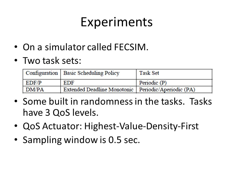 Experiments On a simulator called FECSIM. Two task sets: Some built in randomness in the tasks. Tasks have 3 QoS levels. QoS Actuator: Highest-Value-D