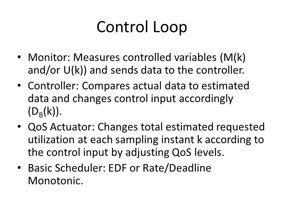 Control Loop Monitor: Measures controlled variables (M(k) and/or U(k)) and sends data to the controller. Controller: Compares actual data to estimated