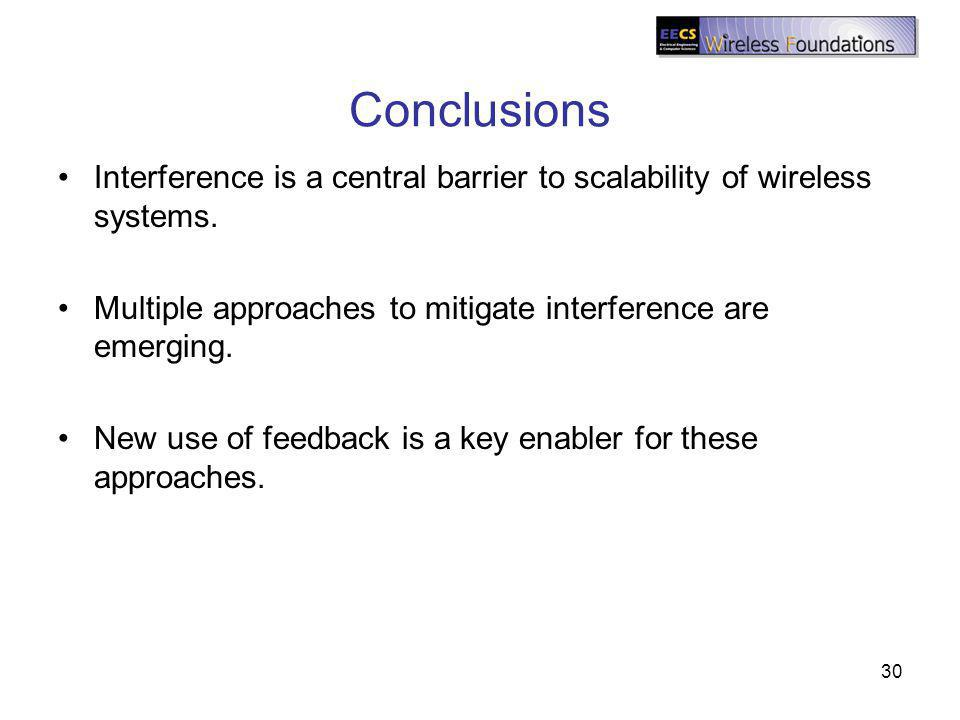 Conclusions Interference is a central barrier to scalability of wireless systems. Multiple approaches to mitigate interference are emerging. New use o