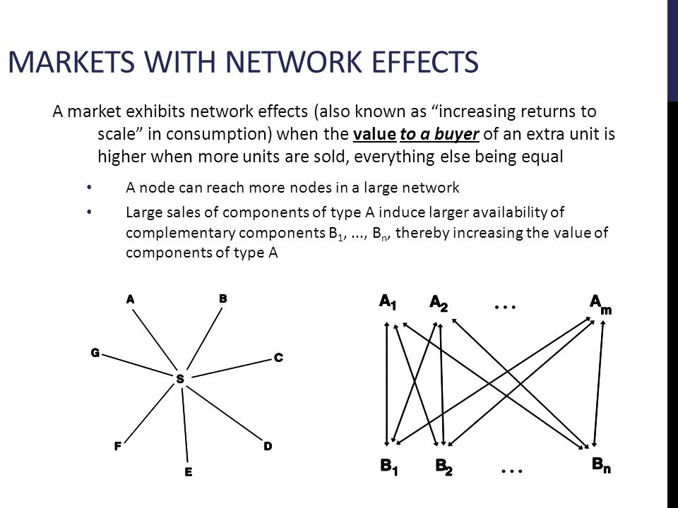 A firm benefits from generating network effects if it: Is the only supplier of the product (control) Tries to get a very large user base rapidly (openness) However: Adoption is more rapid with open standards Profit margins are much higher with proprietary standards Total value added to industry Your share of industry value Control: Ensure high profit margins, face an uphill task of getting to critical mass Openness: Facilitate rapid adoption, but face difficulty in keeping margins high The place to be.