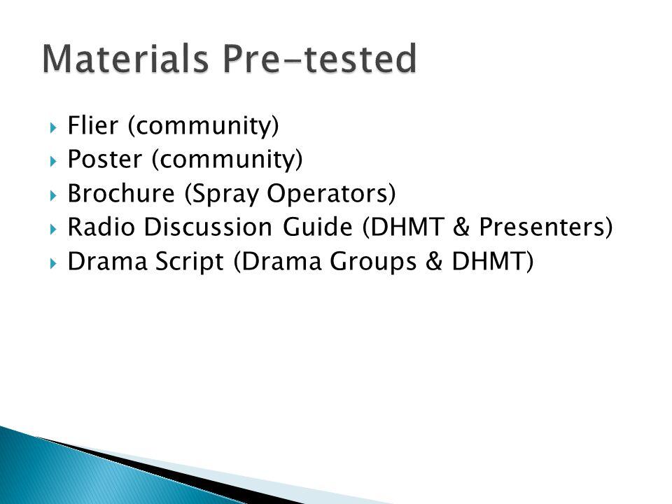 Flier (community) Poster (community) Brochure (Spray Operators) Radio Discussion Guide (DHMT & Presenters) Drama Script (Drama Groups & DHMT)