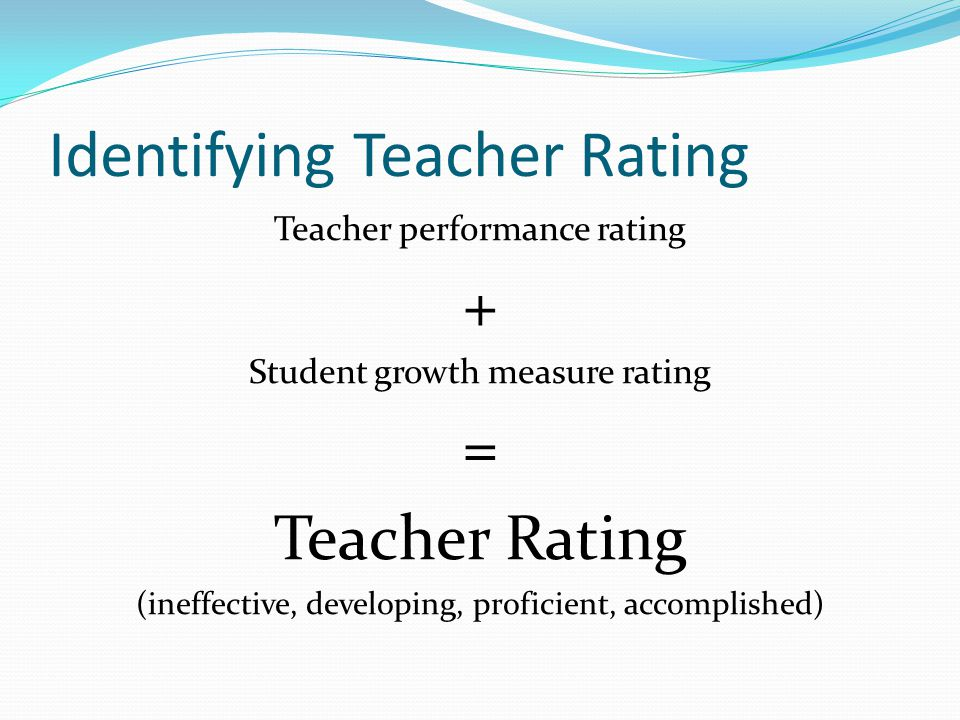 Identifying Teacher Rating Teacher performance rating + Student growth measure rating = Teacher Rating (ineffective, developing, proficient, accomplished)