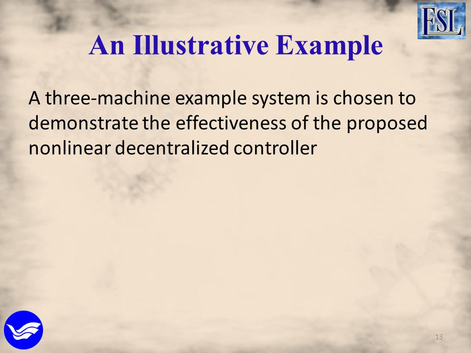 An Illustrative Example A three-machine example system is chosen to demonstrate the effectiveness of the proposed nonlinear decentralized controller 1
