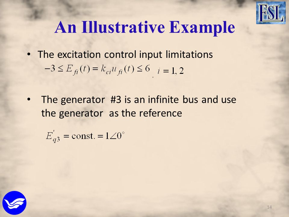 An Illustrative Example The excitation control input limitations The generator #3 is an infinite bus and use the generator as the reference 14