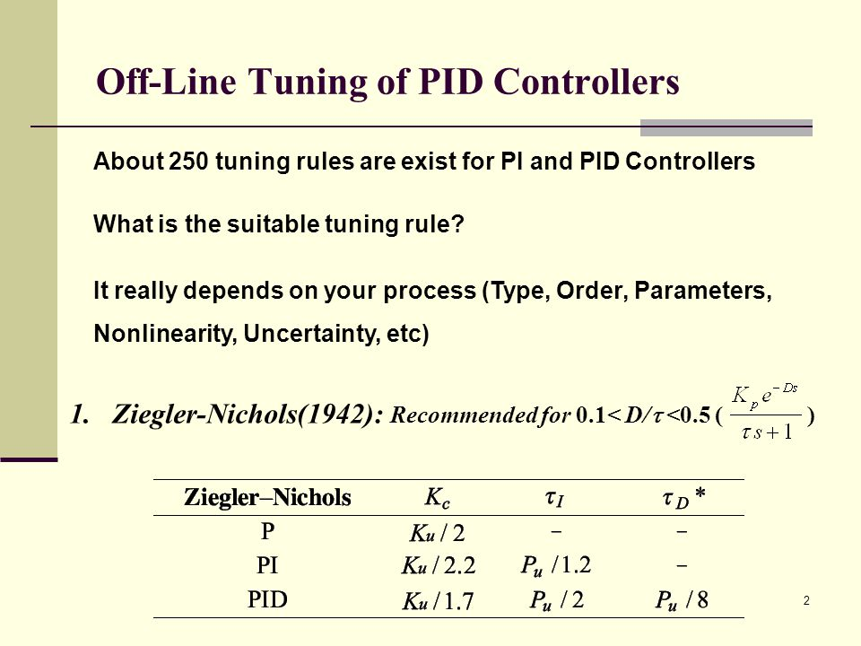 On-Line Tuning of PID Controllers Process model identification from a Relay Feedback Test Model 2 (integrator plus dead time) : Model 3 (pure dead time): 13