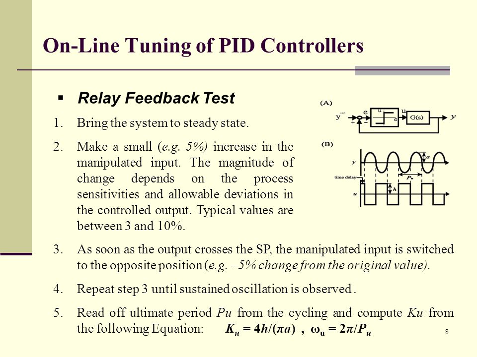 On-Line Tuning of PID Controllers Relay Feedback Test 1.Bring the system to steady state. 2.Make a small (e.g. 5%) increase in the manipulated input.