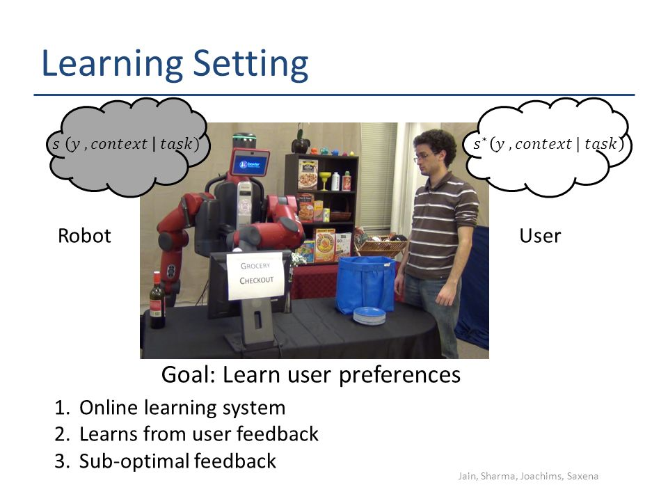 Learning Setting UserRobot 1.Online learning system 2.Learns from user feedback 3.Sub-optimal feedback Goal: Learn user preferences Jain, Sharma, Joachims, Saxena