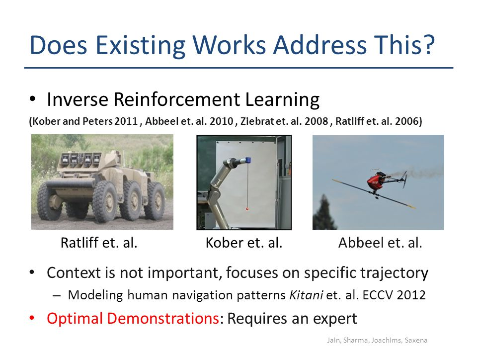 Does Existing Works Address This? Inverse Reinforcement Learning (Kober and Peters 2011, Abbeel et. al. 2010, Ziebrat et. al. 2008, Ratliff et. al. 20