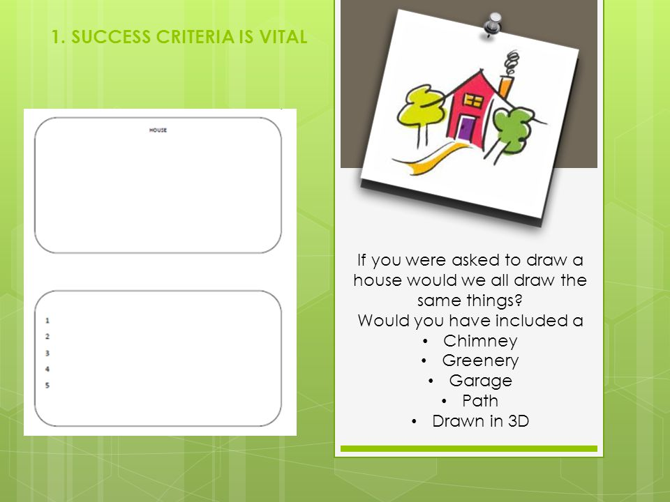 1. SUCCESS CRITERIA IS VITAL If you were asked to draw a house would we all draw the same things? Would you have included a Chimney Greenery Garage Pa